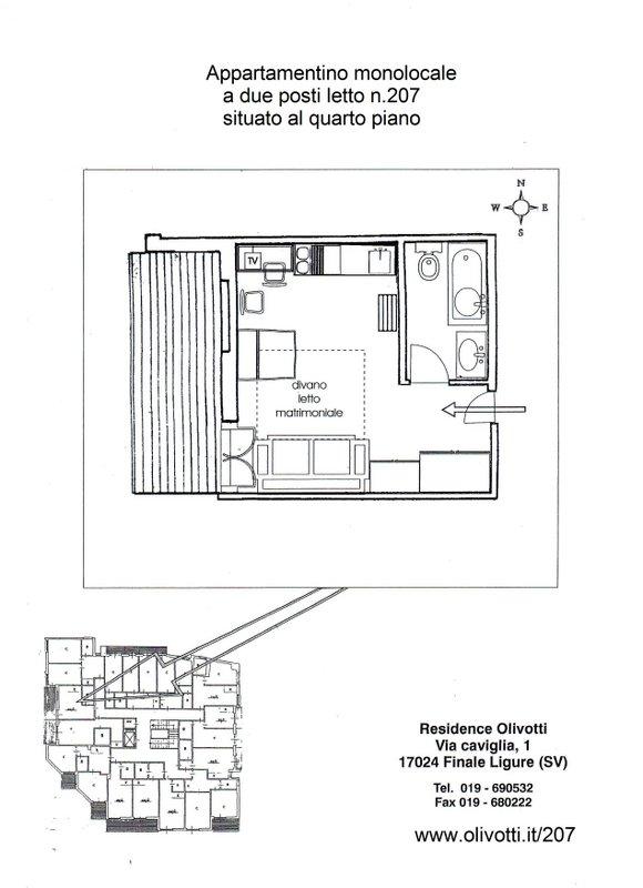 207 monolocale a 2 posti letto 4 piano residence olivotti for 2 piani appartamento monolocale